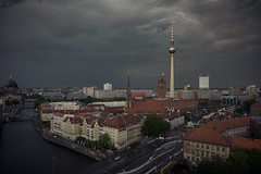 Thunderstorm in the City II (Berlin/Germany) (Light Levels Photoworks) Tags: allemagne adventure atmosphere alexanderplatz berlin berliner fernsehturm city cityscape clouds citylights deutschland d750 dom eclair blitz ·clouds germany spree stadt street gewitter landscape landschaft lightning nikon nikkor outdoor orage perspectives paysage photography perspektive rathaus thunderstorm thunder tower urban view viewpoints wetter wolken wideangle weather
