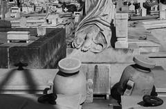 Sarcophagi Of Havana (peterkelly) Tags: digital bw northamerica canon 6d cuba cubalibre gadventures havana necropolis cemetery statue feet sarcophagus death dead grave graveyard gravestone memorial monument tombstone headstone urn stone