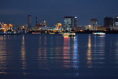 Deep blue reflections (Abhay Parvate) Tags: reflection water boat odaiba お台場 city evening