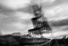 (ICM) Sculpture Tatlin's Tower at SCVA, Norwich, UK.jpg (+Pattycake+) Tags: scva exhibition photoart ©patriciawilden2019 icm norwich sainsburycentrevisualart red tatlinstower 17june2019 tatlintower photoarty incameraicm atmosphere ndfilter iso400 1secatf22 pw11077