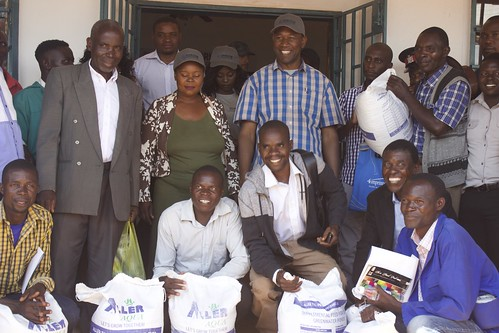 Stakeholders, including Charles Sipanje, Permanent Secretary of the Northern Province (wearing cap), at the opening of Horizon Aquaculture's Kasama outlet, Northern Province, Zambia. Photo by Tabitha Mulilo.