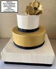 WDW254 (Jarosch Bakery) Tags: wdw254 wedding weddingcake tieredcake gold black ribbon metallicgold white simple clean magnolia flower floral square round