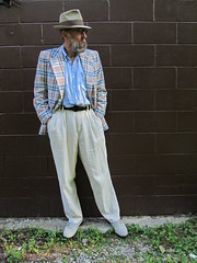 6-18-2019 Today's Clothes (Michael A2012) Tags: this mans summer style vintage fashion dobbs hanover square fedora hat fur flet 1950s plaid sport coat tommy bahama silk j peterman linen suede loafers lands end