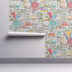perpetual hillside isobar wallpaper (Scrummy Things) Tags: hillside perpetualhillside illustration sharonturner design buildings slope pattern architecture architectural wallpaper isobar nursery kids color colour red blue orange yellow pink unisex genderneutral roostery spoonflower