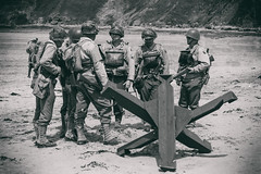 Men Of The 29th Infantry Division (Mark Wasteney) Tags: dday75 ww2 war soldiers troops infantry combat monochrome vintage wetplate beach westcountry sauntonsands brauntonburrows