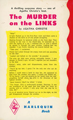 Harlequin Books 441 - Agatha Christie - The Murder on the Links (back) (swallace99) Tags: harlequin vintage 50s murder mystery paperback