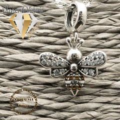 Pendentif Mielina : la petite abeille en argent (olivier_victoria) Tags: topaze argent 925 pendentif arcenciel mystique coeur chaine brillant myticoeur