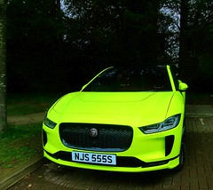 the 2019 Day-Glo Jaguar I-Pace .. You can't miss it !! (John(cardwellpix)) Tags: 2019 dayglo jaguar ipace