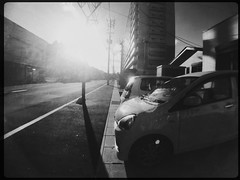 Small car in the zestful sunshine (U-ichiro1003) Tags: street snap iphonese hipstamatic wide lens