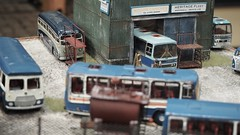 Teds Wood Bus Garage. (ManOfYorkshire) Tags: woodscoaches tedswood diorama depot garage maintenance working resin diecast kits repaint repaints southyorkshire model transport road show exhibition 2019 display fictional ondisplay exhibit 176 scale oogauge