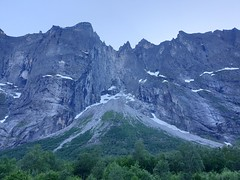 Trollveggen, a massiv rock which basejumpers from all over the world come to jump.