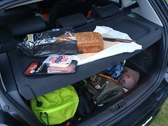 Our car is really practical, we even serve breakfast from our hat shelf.