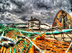 Hopefuly No One Can See Me In Here (RS400) Tags: hdr wow cool amazing travel clouds sky dark buildings art harbour netting net boat north outside photography photo edit colours shed uk orange inpact