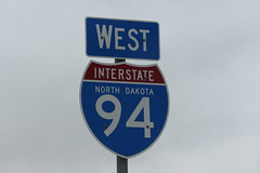 Interstate 94 in western North Dakota (Hazboy) Tags: park usa west america us teddy north roosevelt national western april dakota theodore 2019 hazboy hazboy1 road sign highway 94 interstate i94