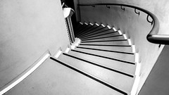 Secret Staircase (DobingDesign) Tags: blackandwhite lines stairs steps stairway staircase banister curve stripes handrail