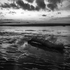 stranded (wan liem) Tags: black white blackandwhite blackwhite sunset sea water wood stranded cloud indonesia fineart art sony a6500