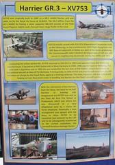 Info board for Hawker Siddeley Harrier GR.3 XV753 at the Cornwall Aviation Heritage Centre 22.08.18 (Trevor Bruford) Tags: cornwall aviation heritage centre newquay bae gr3 airplane plane aeroplane aircraft mawgan st raf warplane fighter jet vtol xv753 harrier siddeley hawker cahc info board