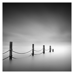 Connected (Marco Maljaars) Tags: longexposure markermeer dutch le blackandwhite marcomaljaars monochrome minimalism sky mood landscape waterscape light bw netherlands water seascape pole rope silence wood