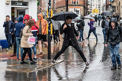 Puddle hopping (Mister Oy) Tags: manchester street streetphotography nikond850 nikon50mmf14gafs puddle hop hopping niftyfifty wet rain rainy raining weather