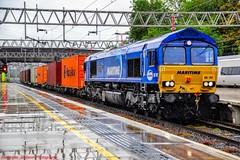 66142 @ Stafford (A J transport) Tags: class66 intermodal maritime 66142 blue dbcargo diesel no3 freight wcml railway trains england