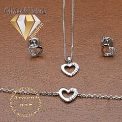 Collection Mercure - Parure argent coeur 3 pièces (olivier_victoria) Tags: parure argent 925 oreille pendentif zircon bracelet coeur chaine brillant boucle boucles doreilles mercure