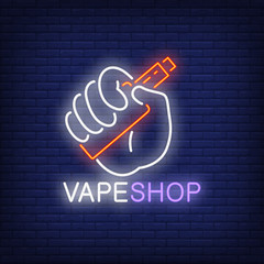Vape shop neon sign (mzainulabideen.445) Tags: icon sign symbol vector flat design element isolated graphic illustration banner billboard bright advertisement illuminated style neon electric light night brick wall dark city lifestyle nightlife vape smoke addiction vapor cigarette hipster vaper mod electronic shop nicotine device liquid cool trendy smoker retail consumerism customer hand holding habit flavor