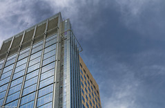 Standing Alone (allentimothy1947) Tags: california places sacramento usbanktower architecture buildings clouds color design downtown polorizedfillter reflection shape sky skyscraper tall windows officebuilding capitalmall frame blue glass metal