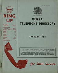 Kenya Telephone Directory, January 1958 (mikeyashworth) Tags: kenya 1958 eastafricapoststelecommunicationscorporation kenyatelephonedirectory1958 typeface typography graphicdesign telephonedirectory shell shelloilandpetrol nairobi mombasa eldoret kisuma kitale lumbwa naivasha nakuru thomsonsfalls mikeashworthcollection
