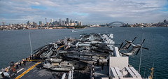 """Sailors and Marines man the rails aboard the USS Wasp (LHD 1) as it arrives in Sydney for a port visit (#PACOM) Tags: wasp lhd1 sydney portcall joint sailors marines australia usindopacificcommand """"usindopacom"""