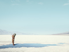 Diver In The Desert (Delaplaine Arts Center) Tags: fineart landscape conceptual johnkeatley water diver vintage print gallery conceptuallandscape keatley fineartphotographer seattle la