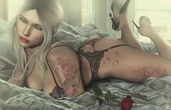 Biatch~Anticipation (Skip Staheli *11 YEARS SL PHOTOGRAPHY*) Tags: biatchfenwitch erotic sexy sensual lingerie bed bedroom skipstaheli secondlife sl avatar virtualworld dreamy digitalpainting rose blonde heels