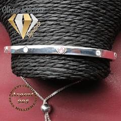Bracelet arc de cercle en argent 925 avec petits coeurs roses (olivier_victoria) Tags: argent 925 rose arc bracelet coeur chaine brillant ajustable cercle