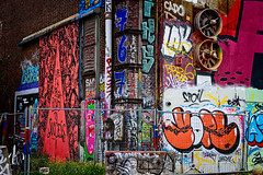 Street Art or Graffiti? (Brett of Binnshire) Tags: ndsm streetart netherlands art locationrecorded scenic architecture streetscene wall amsterdam painting fence northholland