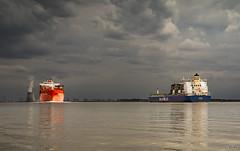 Bath (Omroep Zeeland) Tags: bath westerschelde wolkenlucht containerschip koeltorens doel havens antwerpen nauw van