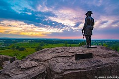General Warren at Sunset (jamesjosephphotography) Tags: pennsylvania history littleroundtop mountain photography union general memorial statue civilwar sunset