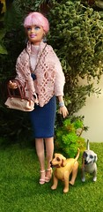 Walking the dogs (fionasimagination) Tags: barbie fashionista dolls doll custom fashion inthespotlight spotlight cutie pink hair pinkhair blue eyes jewelry jumper diorama outside faux plants afghan dog pet bag myscene scene beauty puppies