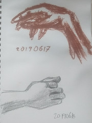 Daily hands, 17-18 June 2019 (magnuscanis) Tags: 20190617 20190618 hand sketch