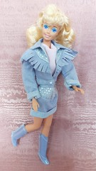 Barbie The Jeans Look #4329 from 1987 (VintageZealot) Tags: barbie mattel special expressions woolworth exclusive 1989 4842 the jeans look 1987 4329 80s 1980s vintage retro fashion doll clothing clothes outfit model modelling caucasian white blonde china plastic snaps jean denim blue pink dusty wedgewood country cow girl boots mini skirt silver polka dots jacket coat fringe collar ascot scarf shirt top blouse lapels superstar super star