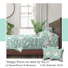 'Happy faces on mint by Su_G': sheets + pillows (mockup) (Su_G) Tags: 2019 summer sug happyfacesonmintbysug happyfacesonmint happy faces mint face coralandmint nursery balloon cat catfaces genderneutral wallpaper baby cheerful catface spoonflower roostery mockup fabricuses sheetset sheets sheeting bedsheets softfurnishings softfurnishing bedding pillow cushion pillows cushions coral cool quirky genderneutralnurserywallpaper designchallenge spoonflowerdesignchallenge silly humorous