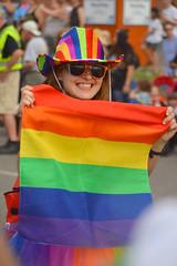 Showing her flag (radargeek) Tags: june 2017 okcpride pride gayprideparade parade oklahomacity okc rainbow flag