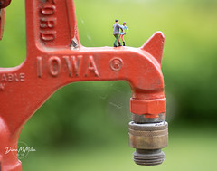 Pipe Dreams (Diann McMillen) Tags: red macro water iowa pump tap tinypeople preiser tamron90mmmacro woodlandscenics nikond750 pipes hydrant