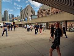 Olympus OMD EM1.   Toronto City Hall (PeterLeDoux) Tags: toronto concrete cityhall wideangle nathanphillipssquare olympusomdem1 olympuszuikoed1122mmf284 sunglasses blonde people moments streetphotography