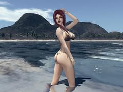 Hildda Hot Tropical Beach (Hildda.Deveaue) Tags: secondlife tropical beach bikini gold fashion sun island paradise redhair wethair water ocean modeling posing makeup serenity sexy fun happy