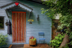 Porch Entry with Curtain (Marco Reardon) Tags: porch house home blue summer tree light architecture patio bar door curtain wall chair hanging clothes porte rideau marco reardon galerie red heart coeur rouge