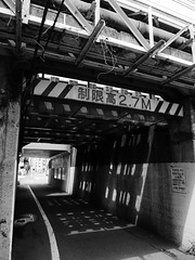 lights & shadows under 2 (peaceblaster9) Tags: underpass lights shadows street okubo tokyo 光 影 ガード下 人 大久保 東京 blackandwhite bnw bw blackwhite
