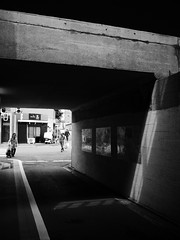 lights & shadows under 1 (peaceblaster9) Tags: underpass lights shadows street okubo tokyo 光 影 ガード下 人 大久保 東京 blackandwhite bnw bw blackwhite