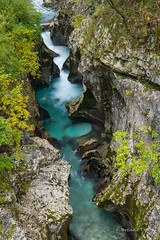 Soca River Gorge (brendatharp) Tags: slowshutter autumn landscape nopeople nature stream naturephotography flowing rocks pure trees scene rock watercourse cascade seasons forest sculpted waterfall soça freshwater nobody europe gorge slovenia fall rushing season water