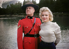 The Royal Canadian Mounted police protected Marilyn Monroe on the set of her movie. (tim t travel) Tags: mounted police rcmp jasper national banff marilyn monroe park
