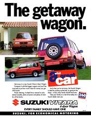 1993 Suzuki Vitara 4WD Wagon Aussie Original Magazine Advertisement (Darren Marlow) Tags: 1 3 4 9 19 93 1993 s suzuki v vitara w d 4wd wagon c car cool collectibnle collectors classic a automobile vehicle j jap japan japanese asian asia 90s