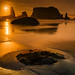 Sea stacks at Bandon Beach at sunset, Oregon Coast